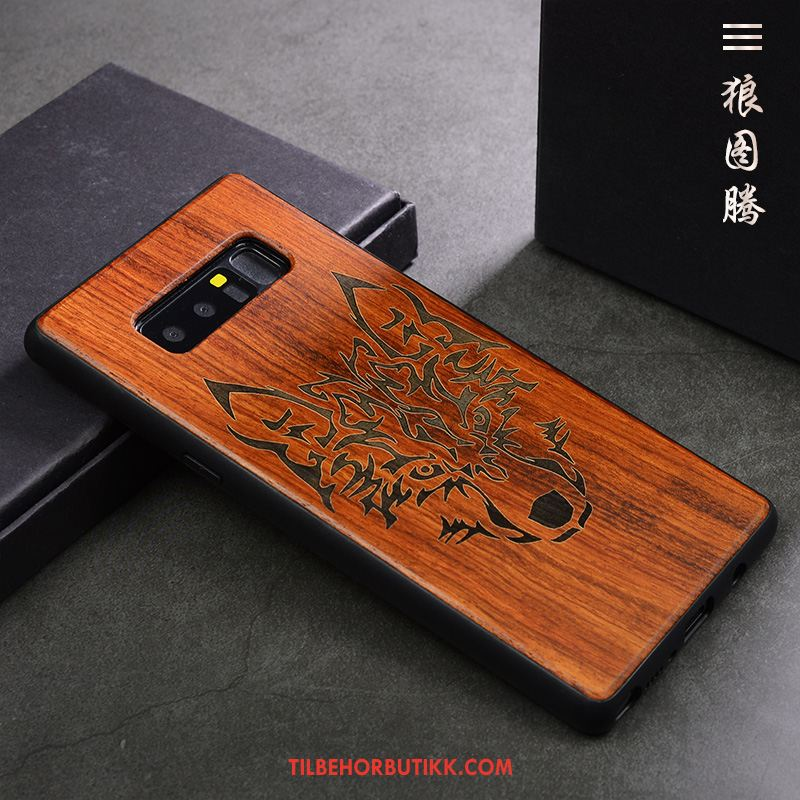 Samsung Galaxy Note 8 Deksel Vintage Mobiltelefon Anti-fall Wood Stjernene Billig