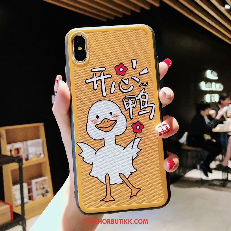 iPhone Xs Max Deksel Anti-fall Silikon Cartoon Gul Lovers Tilbud